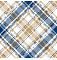 blue gold tartan diagonal seamless pattern vector image