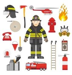 Fireman Professional Equipment Flat Icons vector image