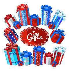 a set of boxes with christmas gifts isolated vector image