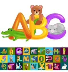 Abc animal letters for school or kindergarten vector
