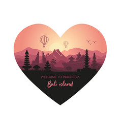 Abstract heart-shaped landscape indonesian vector