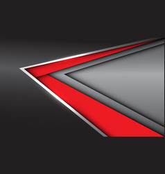 Abstract red silver arrow direction on grey metal vector