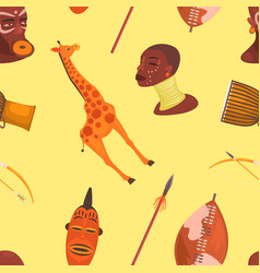 africa seamless pattern with cute jungle animals vector image