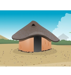 African hut village vector