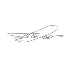 airplane symbol single continuous line big flying vector image