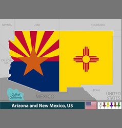 Arizona and new mexico united states vector