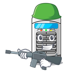 Army mascot air cooler mounted on wall vector