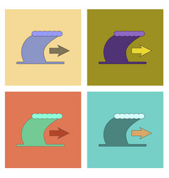 Assembly flat icons tsunami movement vector