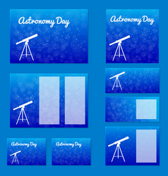 astronomy day template design set night sky with vector image