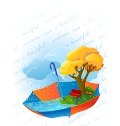 autumn card with ambrella vector image