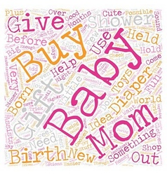 baby shower gift text background wordcloud concept vector image