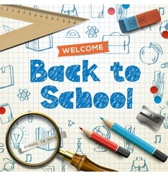 Back to school squared paper doodle background vector image