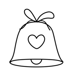 bell with heart ribbon decoration merry christmas vector image