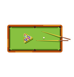 Billiard table with green field wooden cues and vector
