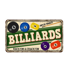 Billiards vintage rusty metal sign vector
