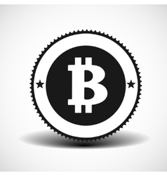 Bitcoin money icon with shadow on light background vector image