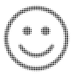 Black dotted glad smiley icon vector