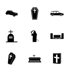 black funeral icons set vector image