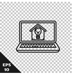 black line laptop with smart house and light bulb vector image