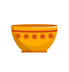 Capacious ceramic bowl with small flowers pattern vector