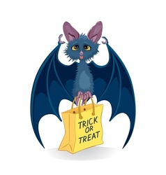 Cartoon bat with Halloween bag Trick or Treat vector image
