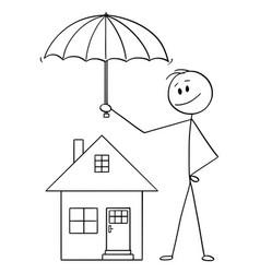 cartoon man businessman or insurance agent vector image