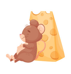 Cartoon mouse sits near cheese vector