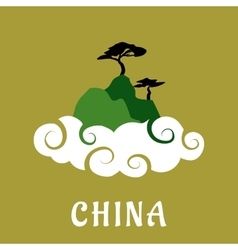 China nature travel flat concept vector