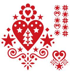 Christmas scandinavian folk art design set vector
