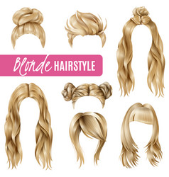 Coiffures for blond women set vector