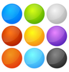 colorful starburst badge shapes with empty space vector image