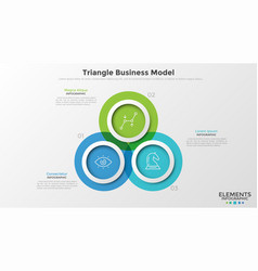 concept of triangle business model with 3 options vector image