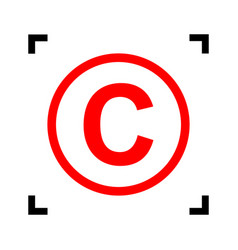 Copyright sign red icon vector