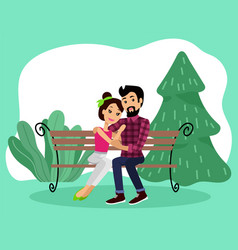 couple sitting on bench in park romantic date vector image