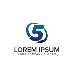 creative modern number 5 logo design concept vector image