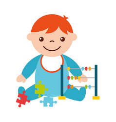 Cute baby boy sitting with abacus and puzzles vector