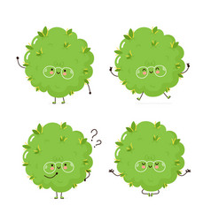 Cute happy weed bud character set vector