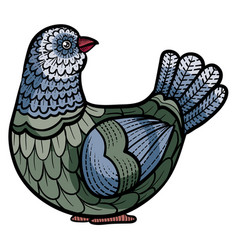 Decorative dove painted with patterns for logo vector