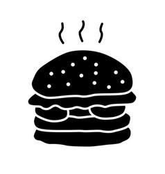delicious burger glyph icon unhealthy nutrition vector image