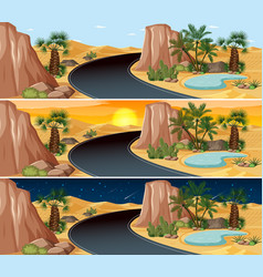 Desert nature landscape scene at different times vector