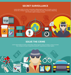 detective banner set vector image