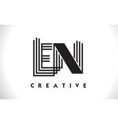 En logo letter with black lines design line letter vector