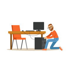 engineer system it administrator at work vector image
