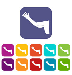 flabby arm cosmetic correction icons set flat vector image