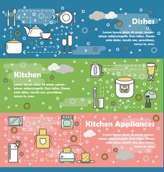 Flat line art kitchen banner set vector