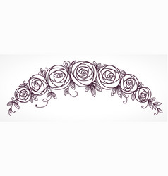 Floral garland rose flowers bouquet vector