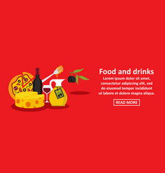 food and drinks italy banner horizontal concept vector image vector image