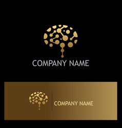 Gold brain technology logo vector
