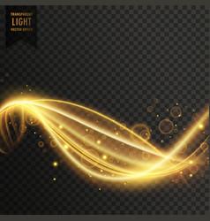 Golden swirl transparent light effect vector