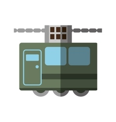green tram cabine vacation travel shadow vector image